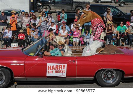Harry The Horse In Red Cabriolet At Calgary Stampede Parade