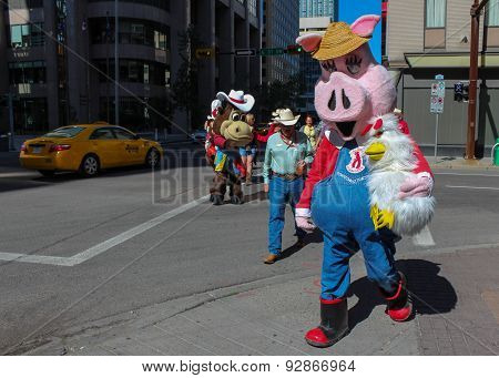 Mascots On The Street In Downtown Calgary