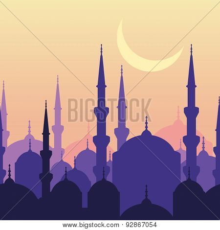 Ramadan Vector Greeting Card With Silhouette Of Mosque And Moon. Sunset Landscape, Seamless Backgrou