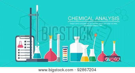 Chemical Banner, Background, Cover. Analytical Chemistry. Flat Design. Vector