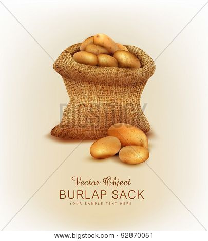 Vector a burlap sack with potatoes