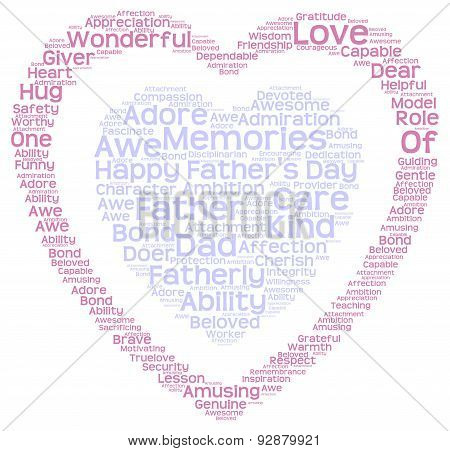 Tag cloud of father's day in double heart shape
