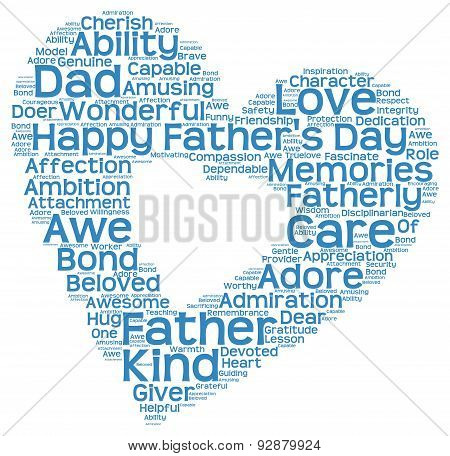 Tag cloud of father's day in heart shape