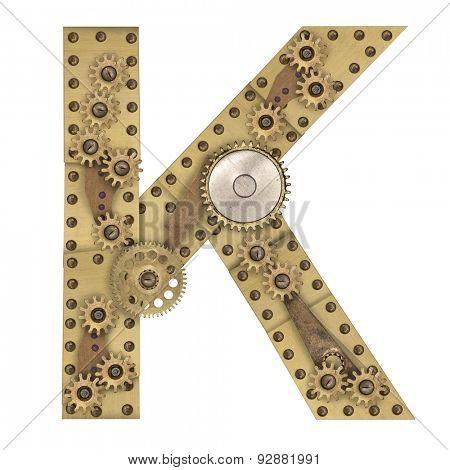 Steampunk mechanical metal alphabet letter K. Photo compilation