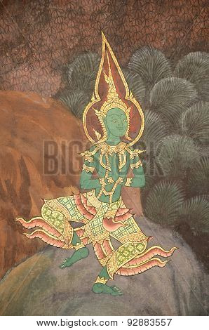 Ancient Thai mural painting of Ramayana story.