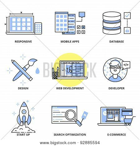 Web Development And Design Vector Icons Set