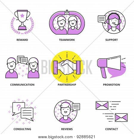 Customer Support And Management Vector Icons Set