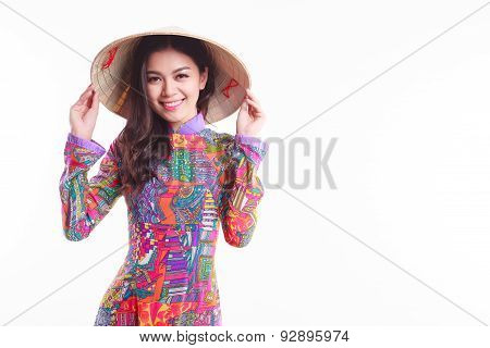 Beautiful Vietnamese Woman With Tradition Ao Dai With Modern Design And Palm-leaf Conical Hat ( Non