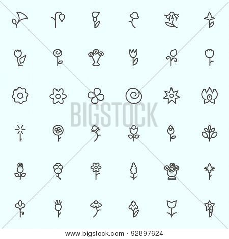 Flowers icons, simple and thin line design
