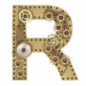 Steampunk mechanical metal alphabet letter R. Photo compilation poster