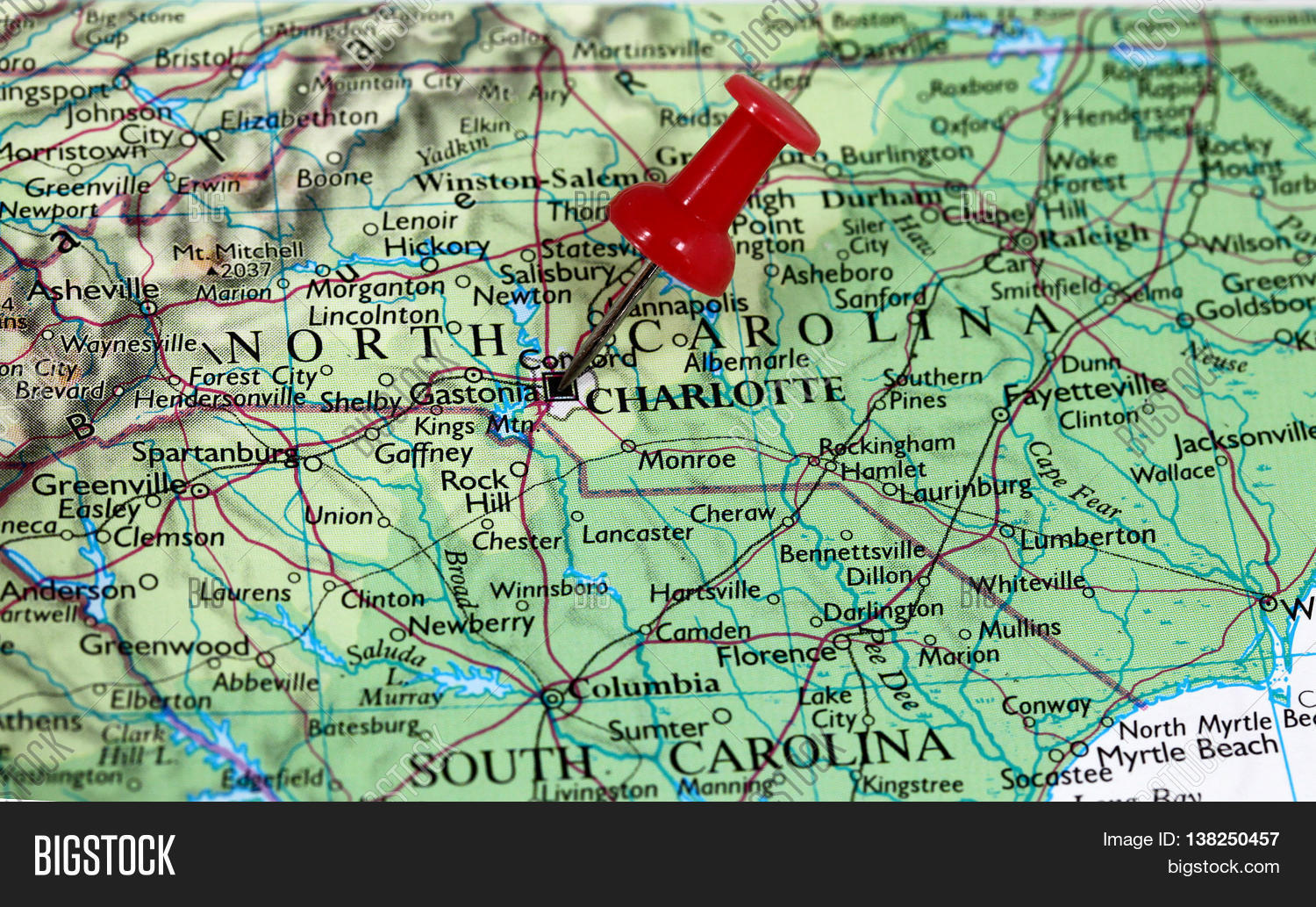 Charlotte In Usa Map.Map Pin Point Image Photo Free Trial Bigstock