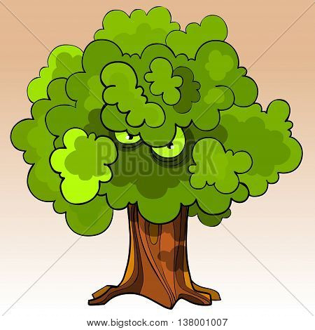 cartoon menacing tree with eyes in the green foliage