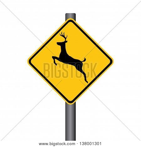 Vector Leaping Deer Yellow Warning Signpost Illustration