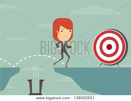 Jump the gap and achieve his goal. Stock vector illustration