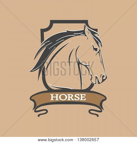 symbol of shield with stylized horse head on a brown background