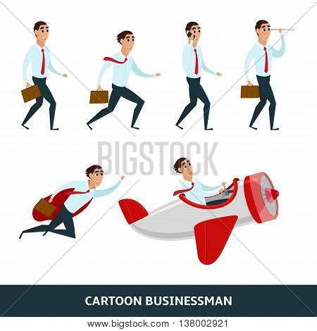 Business person walking to the success. Businessman is in different situations. Vector illustration isolated on the white background.