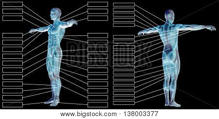 3D illustration of a concept or conceptual human man anatomy and muscle textbox isolated on black background
