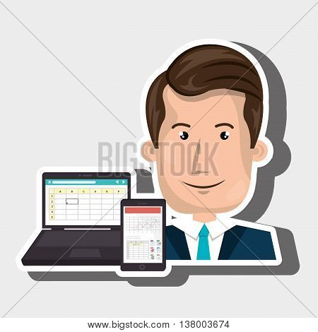 people and technology isolated icon design, vector illustration graphic