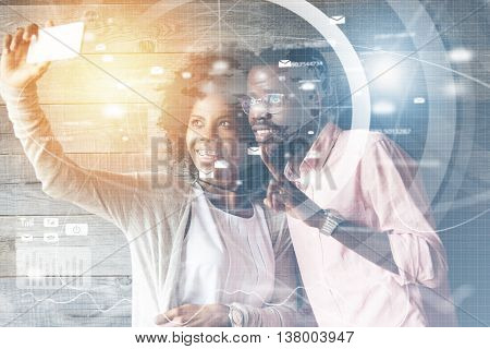 Worldwide Connection Interface. Young Happy African American Couple Having Fun, Taking Selfie With F