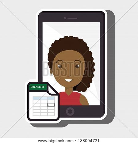 woman with smartphone isolated icon design, vector illustration  graphic