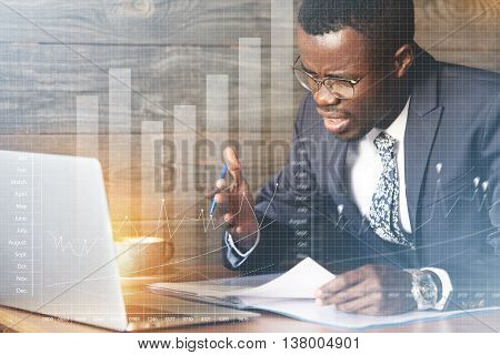 Visual Effects. African American Office Worker Wearing Formal Wear And Glasses, Gesturing And Yellin