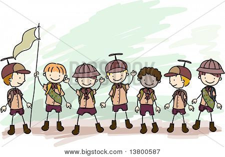 Illustration of Boy Scouts in a Campsite