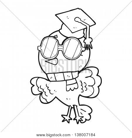 cute freehand drawn black and white cartoon well educated bird