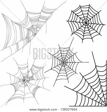 Vector set of spider web isolated on white background.