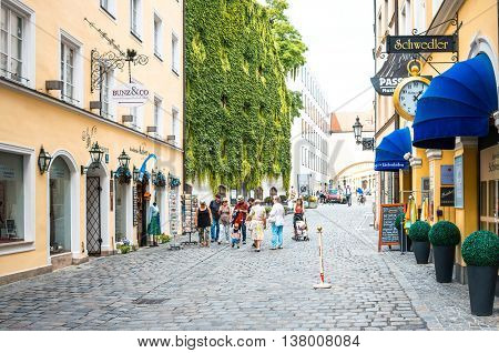 MUNICH, GERMANY-June 4: Street view of Tourists on foot Street in Downtown Munich on June 3, 2016, in Munich, Germany.