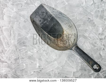 Old ice scoop on the ice bucket, Close up