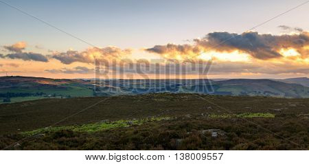A beautiful sunset panoramic in the Peak District