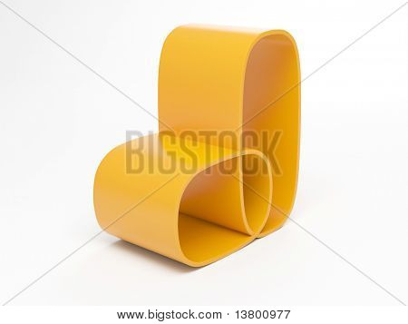 3d Render Of Modern Yellow Armchair Isolated Over White Background
