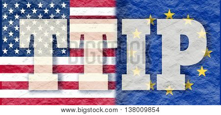 TTIP - Transatlantic Trade and Investment Partnership. Europe and USA association. Crumpled paper textured