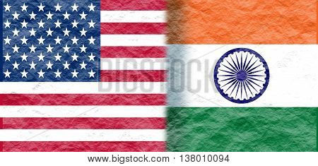 Image relative to politic relationships between United States and India. National flags textured by crumpled paper