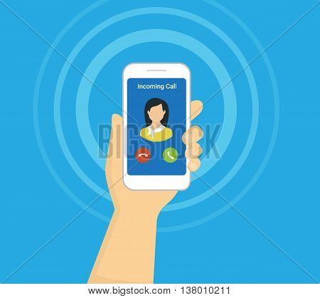 Incoming call on smartphone screen. Flat vector illustration for calling service. Hand holds smartphone with incoming call from his girlfriend. Flat icon for banners, websites and infographics