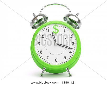 Money Concept with Clock and Dollar Sign isolated on white Background