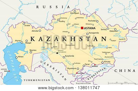 Kazakhstan Political Map Capital Vector Photo Bigstock