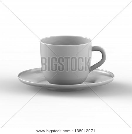 Mockup of coffee or tea cup on plate. 3D illustration -- Three dimensional render of coffee and tea glass mugshot. Mock up can be used for placing signs and symbols or any corporate identity on a blank area. Realistic Three dimennsional illustration
