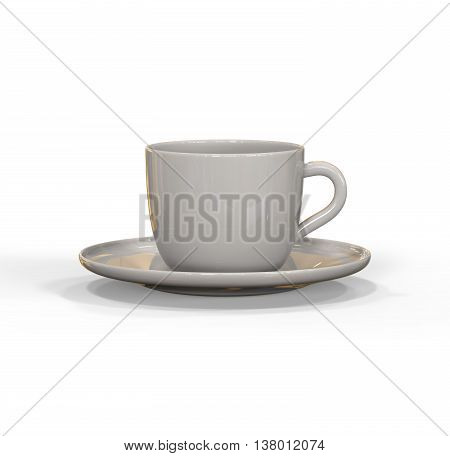Mockup of coffee or tea cup on plate. 3D illustration -- Realistic three dimensional render of coffee and tea glass mugshot. Mock up can be used for placing signs and symbols or any corporate identity on a blank area