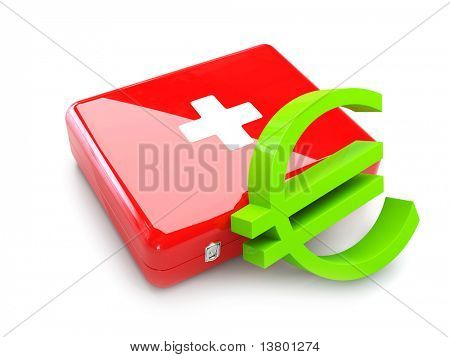 3d First aid kit with euro isolated on the white background