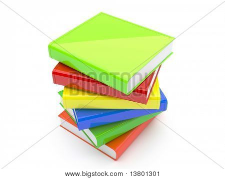 3d Colored Books Isolated On White Background