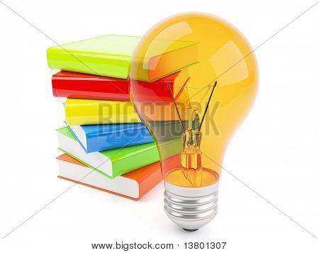 3d lamp with pile of books isolated on the white background