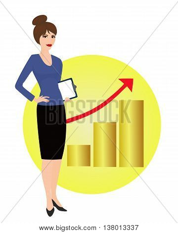 Specialist in public relations on the background of the rising graph. Political strategist coordinator PR Manager. Isolated vector illustration. Vertical location.