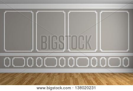 Gray Wall In Classic Style Empty Room