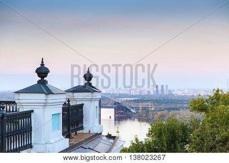 Kiev St. Andrew's Church View City River Bridge