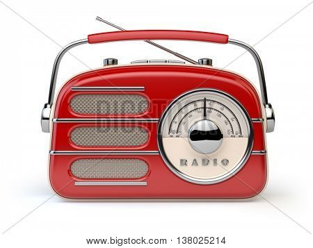 Red vintage retro radio receiver isolated on white. 3d illustration