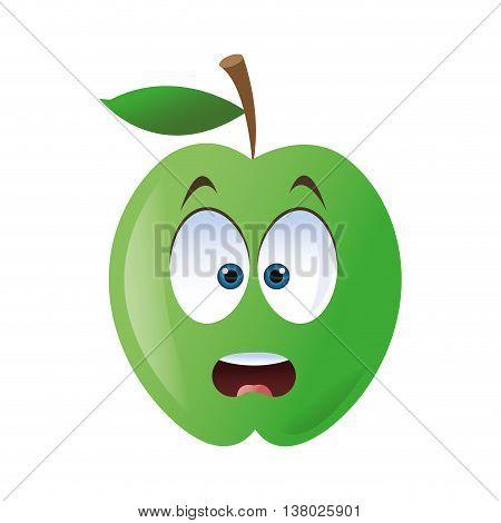 flat design surprised apple cartoon icon vector illustration