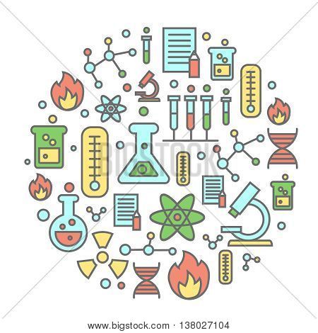 Chemistry flat concept with lab research equipment and scientist Round colorful background vector illustration