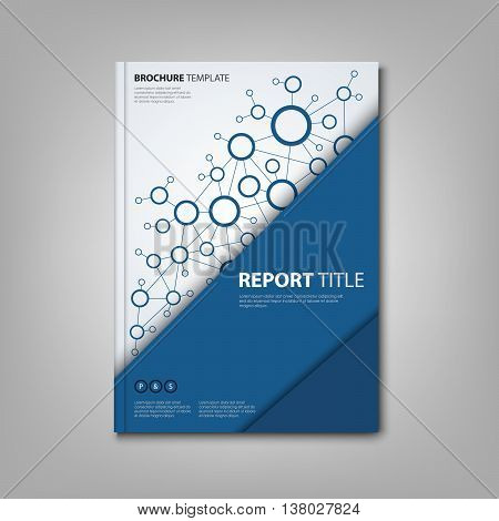 Brochures book or flyer with triangular blue connection design template vector eps 10