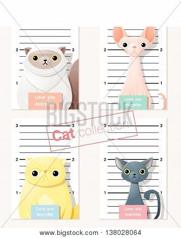 Mugshot of  cute cats holding a banner , vector, illustration